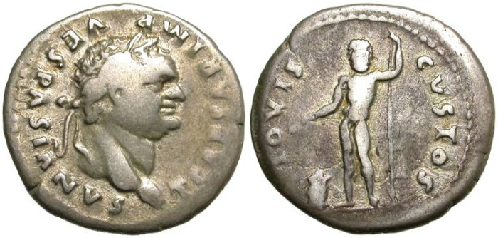 Ancient Coins - TITUS.  SILVER  DENARIUS. IUPPITER  CUSTOS REV.  NICE  PORTRAIT AND AFFORDABLE PRICE.