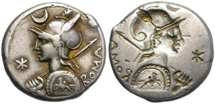 Ancient Coins - ROMAN REPUBLIC. SILVER DENARIS. BROCKAGE. IMPRESSIVE LICINIA.