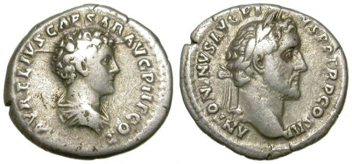 Ancient Coins - ANTONINUS PIUS AND MARC AUREL. DOUBLE HEADED DENAR. INTERESTING AND AFFORDABLE