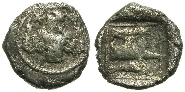 Ancient Coins - ARADOS, PHOENICIA. OBOL. POSEIDON & PROW. PHOENICIAN SEA POWERNESS