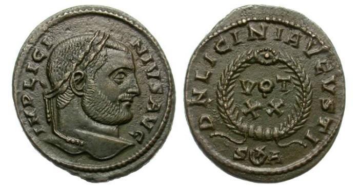 Ancient Coins - LICINIUS. AE FOLLIS. SISCIA,  OFFICINA A. ATTRACTIVE AND SCARCE