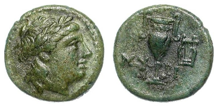 Ancient Coins - MYRINA. GREEK AE. NICE VF. A VERY ATTRACTIVE AND PLEASANT COIN !