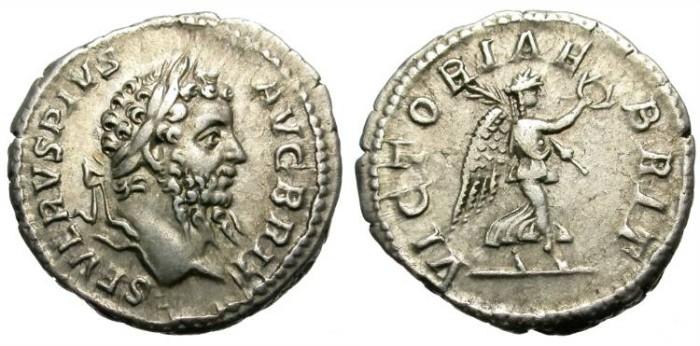 Ancient Coins - SEPTIMIUS SEVERUS. SILVER DENARIUS. VICTORIAE BRIT. ATTRACTIVE AND CENTERED BRITISH RELATED ISSUE