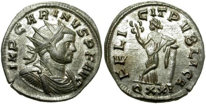 Ancient Coins - CARINUS. BILLON ANTONINIANUS. TICINUM MINT. NICE DRAPPED BUST. /2
