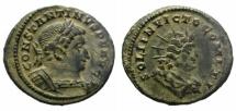Ancient Coins - CONSTANTINE I. AD 310-337. FOLLIS. TREVERI MINT.  NICE DARK BROWN PATINA.