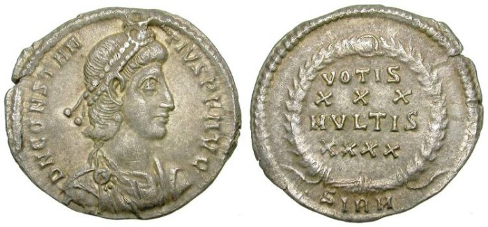 Ancient Coins - CONSTANTIUS. SILVER SILIQUA. DELICATE TONING. NICE COIN