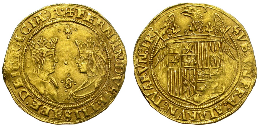 Ancient Coins - ELISABETH & FERDINAND. TWO EXCELENTES. SEVILLE MINT. NICE GOLD ISSUE
