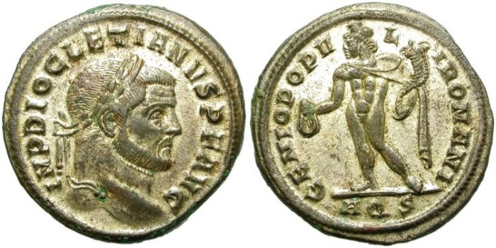 Ancient Coins - DIOCLETIAN. POST REFORM LARGE FOLLIS. AQUILEIA MINT. VERY NICE
