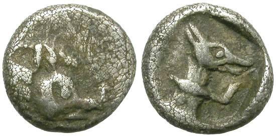 Ancient Coins - VERY RARE HEMIOBOL, POSSIBLY IONIAN, WILD BOAR & DOG.