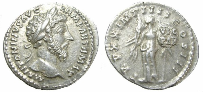Ancient Coins - MARCUS  AURELIUS  DENARIUS.  GREAT  QUALITY