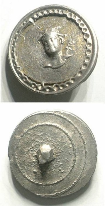 Ancient Coins - SILVER BUTTON WITH MERCURE HEAD. TASTEFUL AND EXQUISITE WORKMANSHIP
