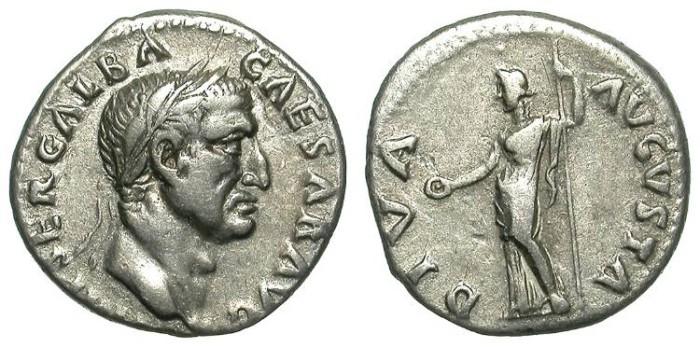 Ancient Coins - GALBA. DENAR. NICE VF. VERY ATTRACTIVE PORTRAIT !