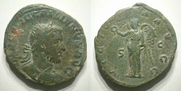Ancient Coins - GALLIENUS. SESTERZ. ALMOST VF. RARE & ATRACTIVE !