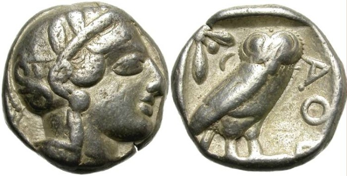 Ancient Coins - ATHENS,  SILVER  TETRADRACHM. EMBLEMATIC COIN.
