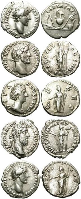 Ancient Coins - LOT OF 5 ROMAN SILVER DENARIUS. ANTONINE PERIOD. GOOD GENERAL CONDITION /3