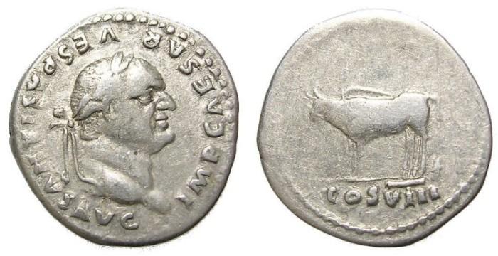 Ancient Coins - VESPASIAN  DENARIUS.  INTERESTING.