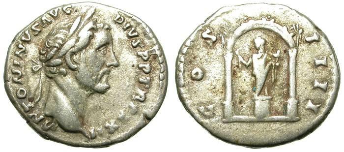 Ancient Coins - ANTONINUS PIUS. DENAR. INTERESTING TEMPLE REVERSE.