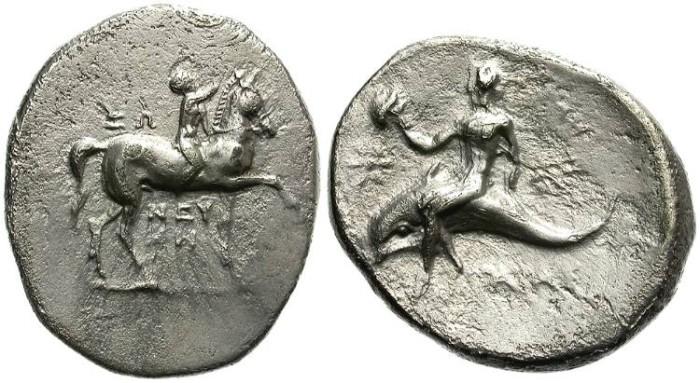 Ancient Coins - TARAS. MAGNA GRECIA. 280-272 BC. STATER. ATTRACTIVE.