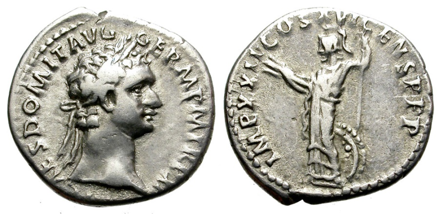 Ancient Coins -  DOMITIAN. 81-96 AD. DENARIUS. ROME. ATTRACTIVE STRIKE.