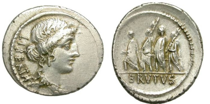 Ancient Coins - ROMA REPUBLIC.  DENAR JUNIA.  VERY ATTRACTIVE.
