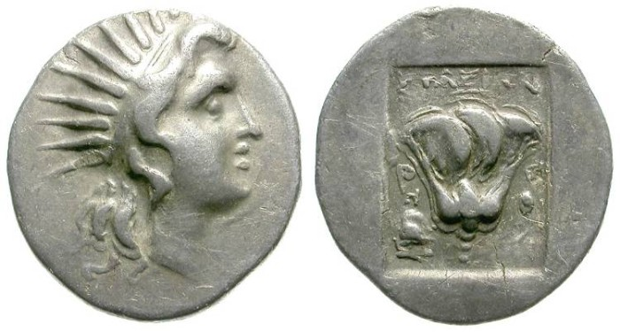 Ancient Coins - RHODOS. DRACHM. HELIOS LOOKING RIGHT. NICE ISSUE