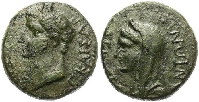 Ancient Coins - CALIGULA &  ANTONIA. AE PROVINCIAL. RARE EMPERORS. AFFORDABLE PIECE.