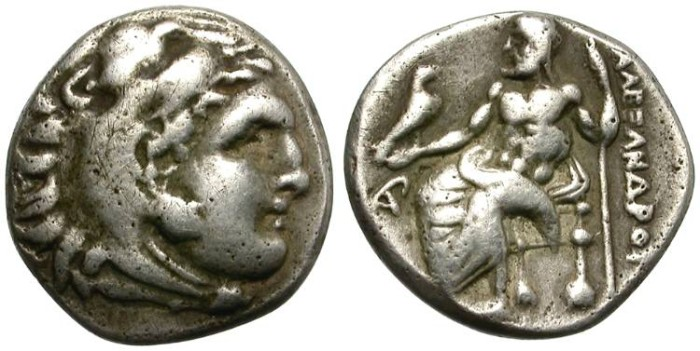 Ancient Coins - ALEXANDER  THE GREAT. 336 - 323  B.C. AR  DRACHM.  INTERESTING COIN.