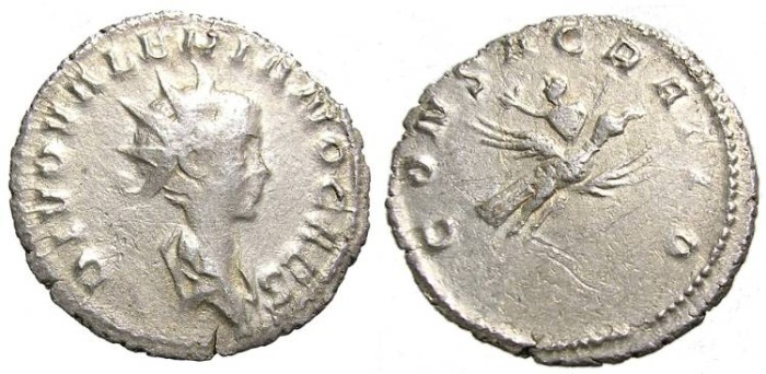 Ancient Coins - VALERIAN  II  ANTONINIANUS.  INTERESTING  REVERSE.