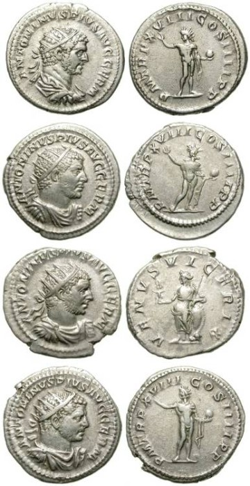Ancient Coins - LOT OF 4 CARACALLA ANTONINIANUS. NICE PORTRAITS