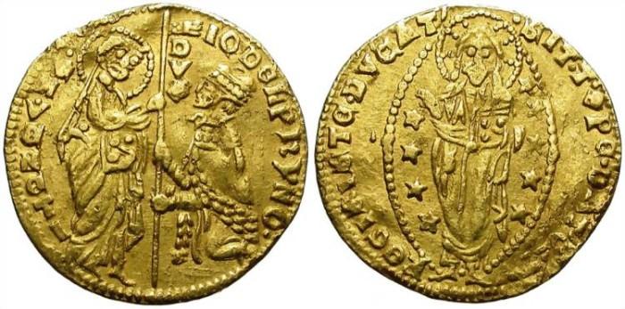 Ancient Coins - REPUBLIC OF VENEZIA. GOLD DUCAT, JOVANNI DOLPHINO, 1356-1361. VERY SCARCE.