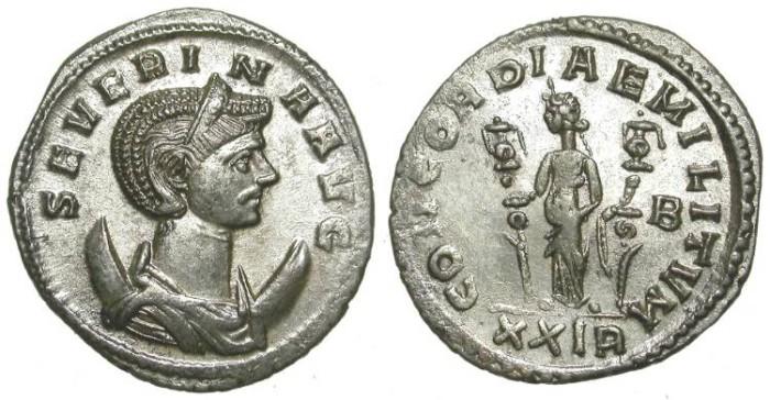 Ancient Coins - SEVERINA. AE ANTONINIAN. NICE EF. WONDERFUL PIECE!