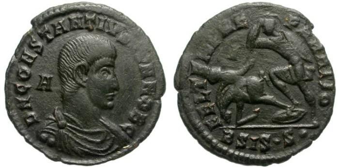 Ancient Coins - CONSTANTIUS GALLUS. INTERESTING AE FOLLIS. SISCIA