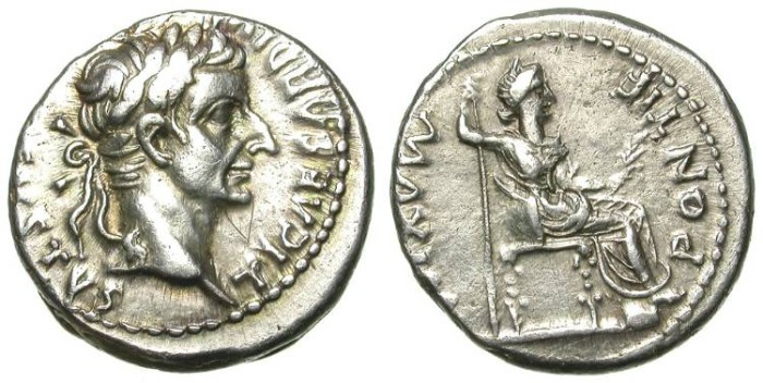 Ancient Coins - TIBERIUS. DENAR. TRIBUTE PENNY. OFF-CENTERED BUT WITH AN IMPRESSIVE PORTRAIT