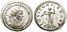 Ancient Coins - MAXIMIANUS. AE ANTONINIANUS. TICINUM. WITH MOST OF ITS ORIGINAL SILVERING STILL REMAINING.