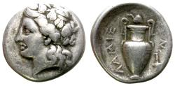 Ancient Coins - LAMIA, THESSALY. HEMIDRACHM. 360-350 B.C. WINE RELATED ISSUE. GOOD SILVER CONDITION.