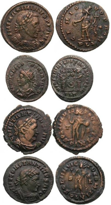 Ancient Coins - LONDINUM (LONDON): LOT OF 4 AE FOLLIS FROM THE LONDINUM (BRITAIN) MINT