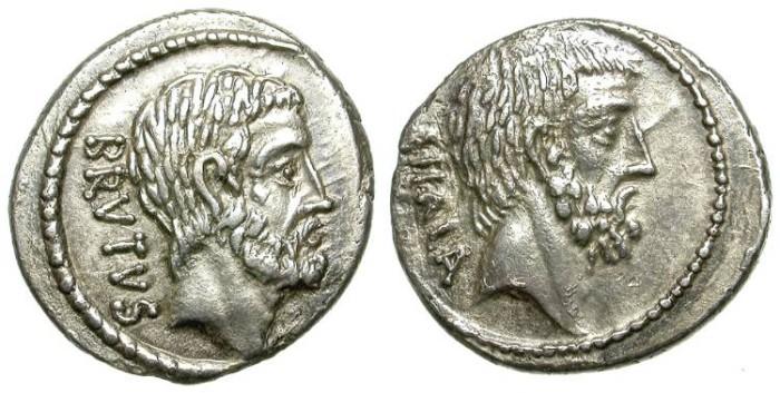 Ancient Coins - ROMAN REPUBLIC. SILVER DENARIUS. JUNIA. SO NICE TONING