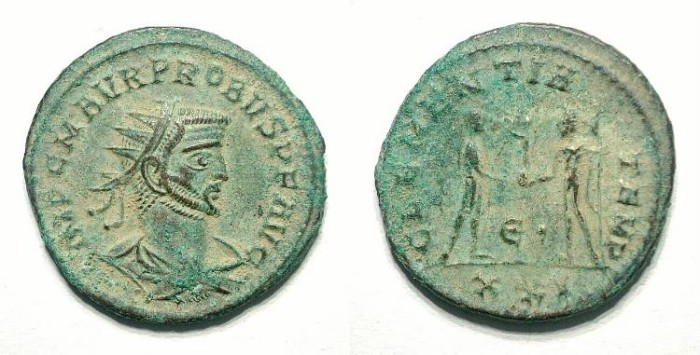 Ancient Coins - Probus. AE Antoninian. Siscia 1st. em.. EF but uncleaned. Great style and different portrait.