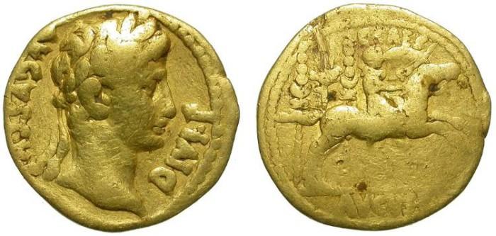Ancient Coins - AUGUSTUS. AUREUS. LUGDUNUM. ONLY FINE BUT RARE TYPE IN GOLD
