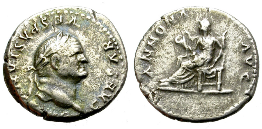 Ancient Coins - VESPASIANUS. 69-79 AD.  SILVER DENARIUS. ROME. NICE TONING.