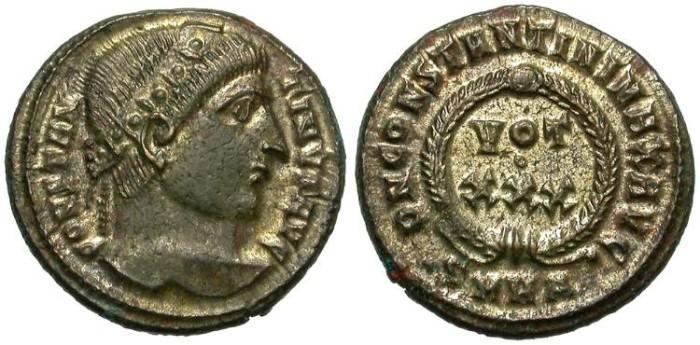 Ancient Coins - CONSTANTIUS  I.  FOLLIS.  NICE  PORTRAIT.