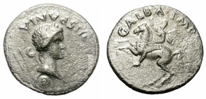 Ancient Coins - GALBA. SILVER DENARIUS. PROVINCIAL MINT. REPRESENTING HISPANIA. RARE