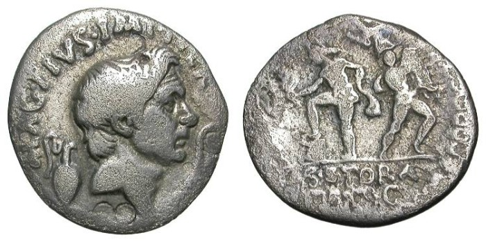 Ancient Coins - SEXTUS POMPEY. DENAR. A VF. GOOD PROTRAIT OF POMPEY THE GREAT !