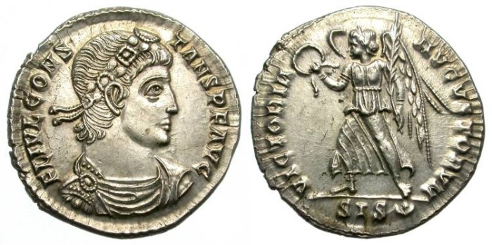 Ancient Coins - CONSTANS. SILVER SILIQUA. WONDERFUL CONDITION. UNCIRCULATED WITH FULL ORIGINAL LUSTER