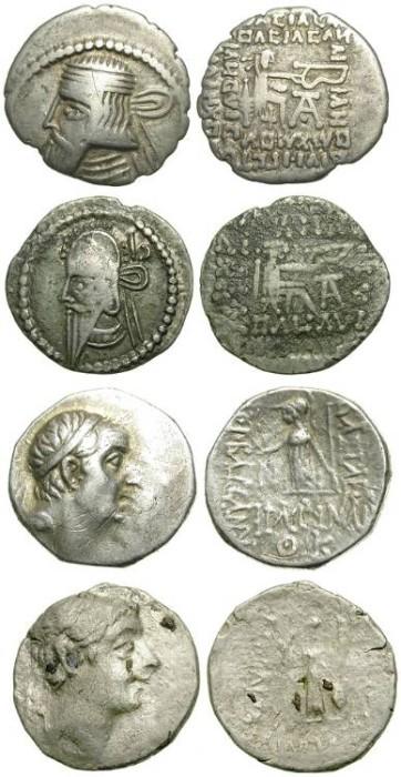 Ancient Coins - LOT OF 4 ORIENTAL DRACHMS: 2 CAPPADOCIA & 2 INDO-BAKTRIA