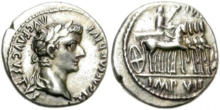 Ancient Coins - TIBERIUS.  SILVER  DENARIUS. QUADRIGA ON REVERSE.  LUGDUNUM.  SCARCE AND ATTRACTIVE.