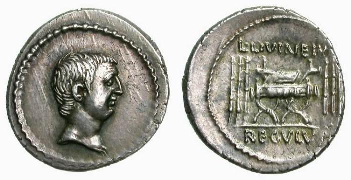 Ancient Coins - ROMAN IMPEREATORS. DENAR. LIVINEIUS REGULUS. NICE EF. WONDERFUL AGING TONING !