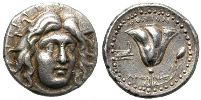 Ancient Coins - RHODOS. SILVER TETRADRACHM. NICE GOLDEN TONING AROUND DEVICES