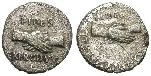 Ancient Coins - CIVIL WARS. SILVER DENAR. ARMY AND PRAETORIANS. VERY RARE