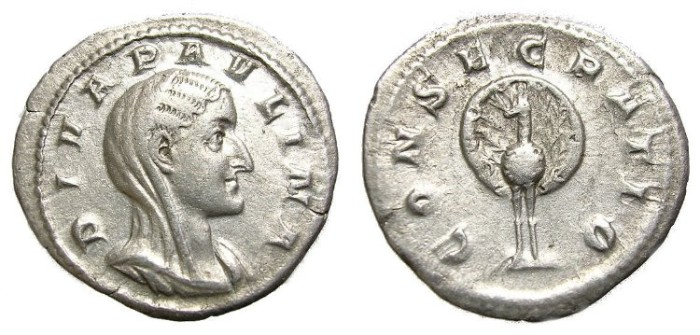 Ancient Coins - PAULINA,  W.  OF  MAXIMINUS  I. DENARIUS  EXTREMELY   RARE.
